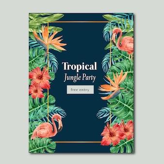 Verão de cartaz tropical com folhagem de plantas exóticas, aquarela criativa