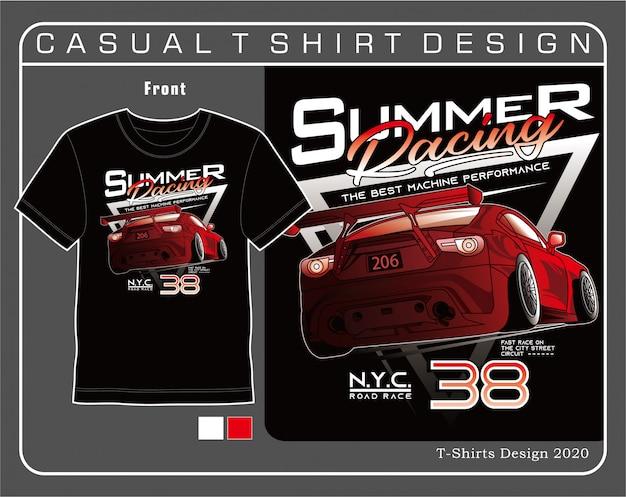 Verão de corrida de estrada de nova york, ilustração de tipografia de carro para camiseta