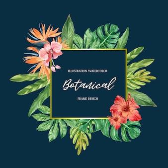 Verão de design de borda quadro tropical com plantas folhagem exóticas
