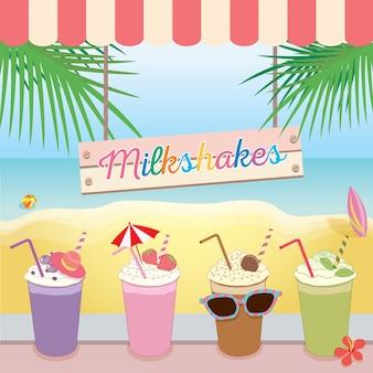 Verão de praia de milkshakes