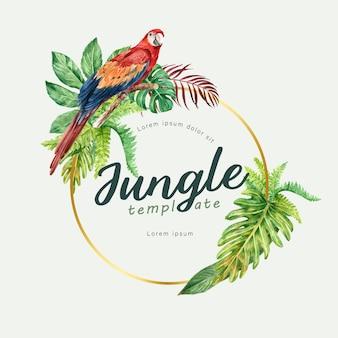 Verão de redemoinho de grinalda tropical com folhagem de plantas aquarela exótica, criativa