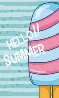 Verão delicioso desenho de picolé sobre fundo listrado