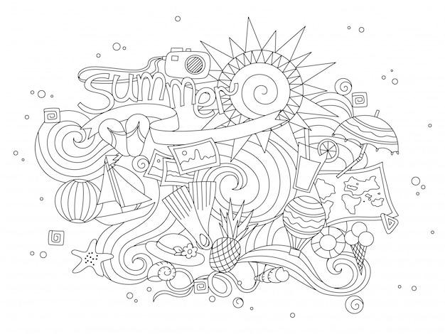 Verão desenhado mão doodles elementos.