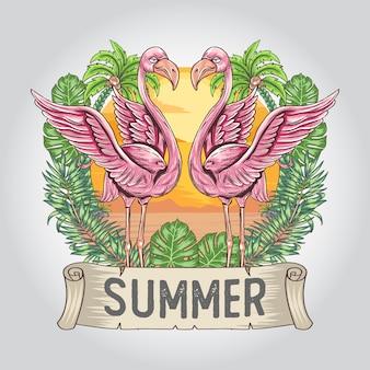 Verão do flamingo com arte artesanal de folha natural e árvore de coco