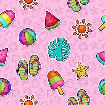 Verão doodle padrão sem emenda colorido