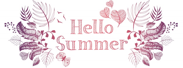 Verão doodles banner