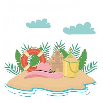 Verão e elementos de férias