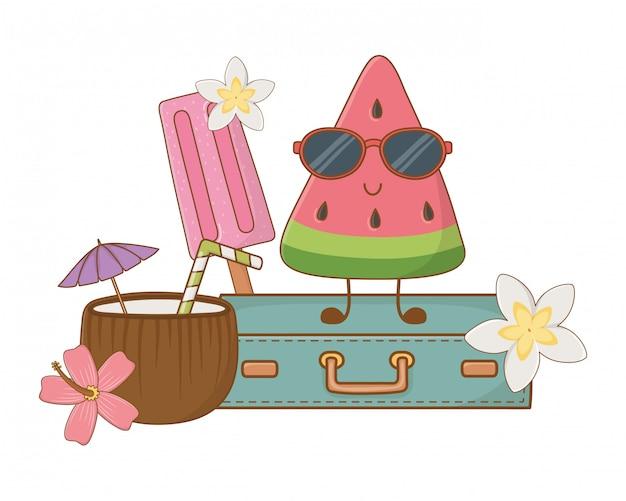 Verão e frutas desenhos animados engraçados