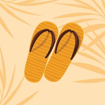 Verão e laranja flip flops