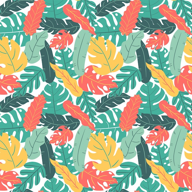 Verão e outono cor tropical folha mão desenho padrão sem emenda