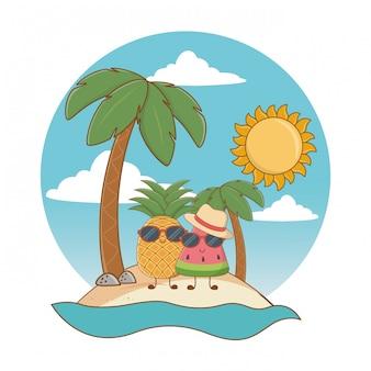 Verão e praia bonitos desenhos animados
