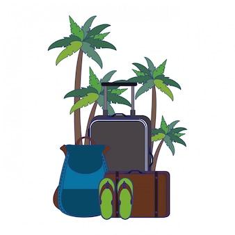 Verão e praia férias desenhos animados