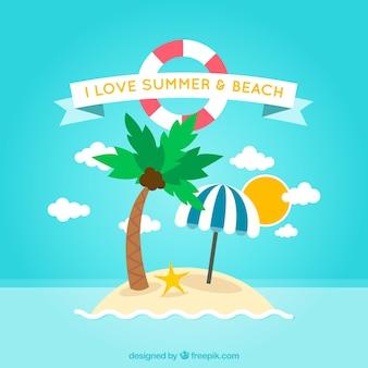 Verão e praia fundo