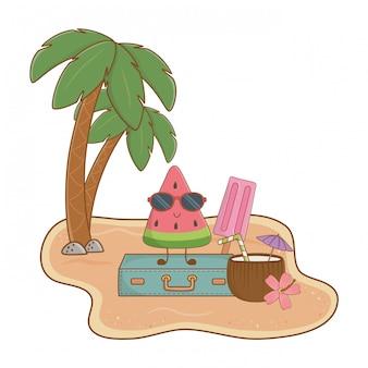 Verão e praia ilha com personagem de melancia bonito