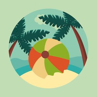 Verão e viagens, bola no paraíso em círculo