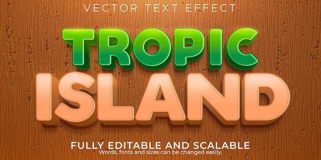 Verão editável efeito de texto tropical e estilo de texto da ilha