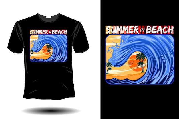Verão em maquete de praia com design retro vintage