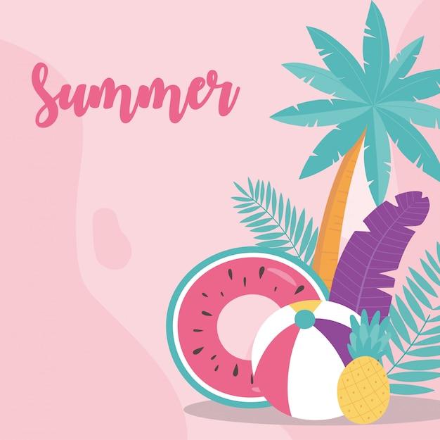 Verão férias férias turismo melancia flutuar bola abacaxi e palmeira