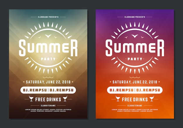 Verão festa design cartaz ou folheto boate evento tipografia moderna