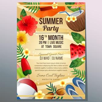 Verão festa férias cartaz modelo praia areia objeto ilustração vetorial