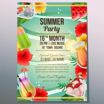 Verão festa férias cartaz modelo praia refreshment objeto vector illustration