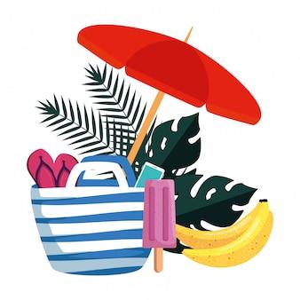 Verão folhas plantas com guarda-chuva e conjunto de ícones