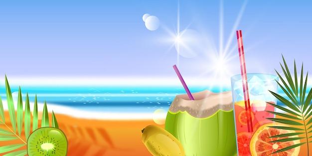 Verão, fundo à beira-mar, bebida de coco, frutas exóticas, areia, oceano