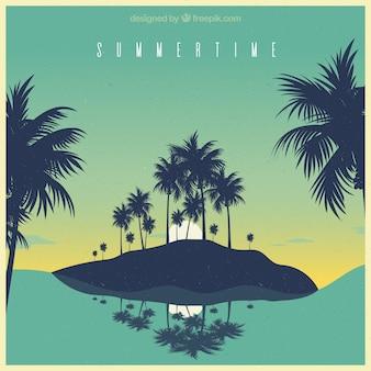 Verão, fundo, ilha, palma, árvores, vindima, estilo