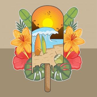 Verão gelo onda luz solar coco surf férias
