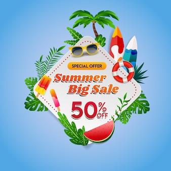 Verão grande venda tropical background