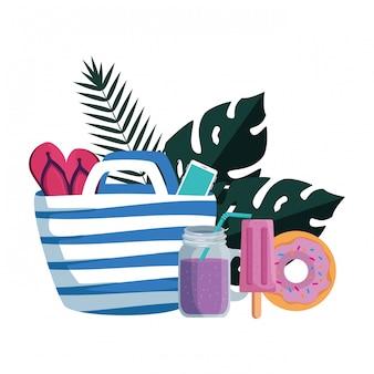 Verão leafs plantas com bolsa de praia e conjunto de ícones