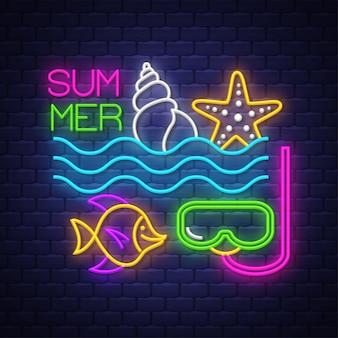 Verão . letras de sinal de néon