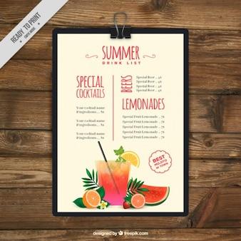 Verão lista de bebida prancheta
