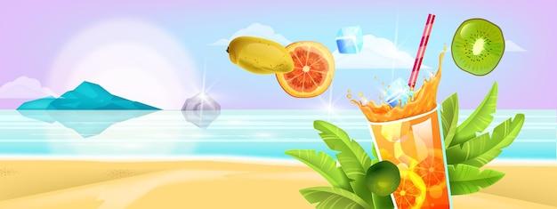 Verão, litoral de ilha tropical, copo de bebida gelada, fruta, palha.