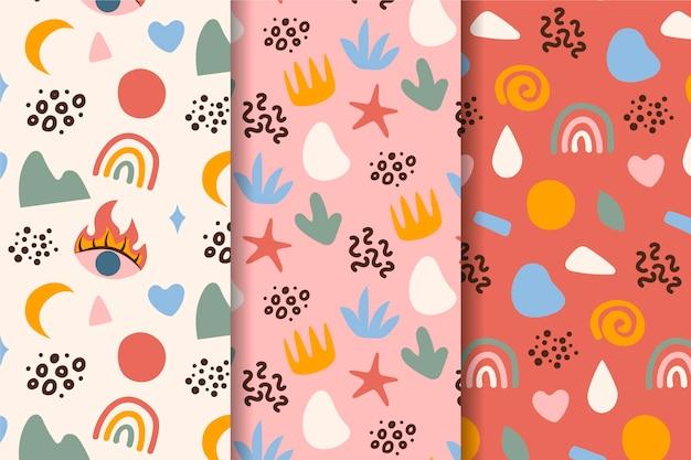 Verão mão desenhados padrões sem emenda