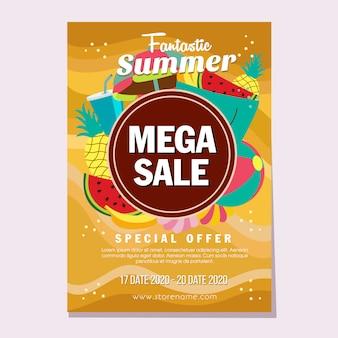 Verão mega vendas estilo plano praia areia tema ilustração vetorial