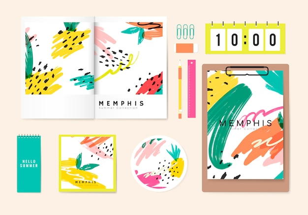 Verão, memphis, desenho, papelaria, vetorial