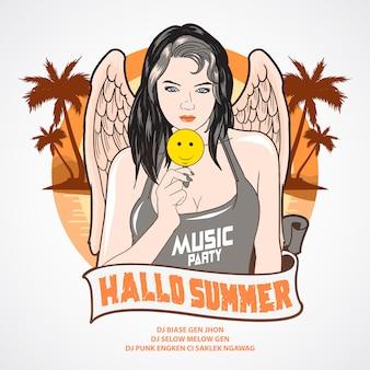 Verão, menina música, partido, anjo, coqueiro, árvore, e, praia, fundo
