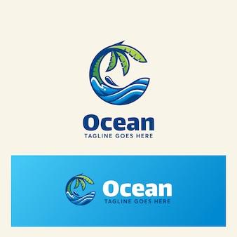 Verão moderno do molde do logotipo do oceano