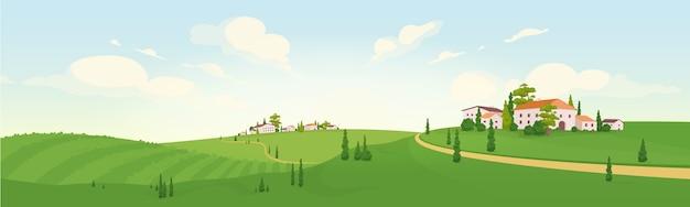 Verão na velha vila europeia ilustração plana a cores