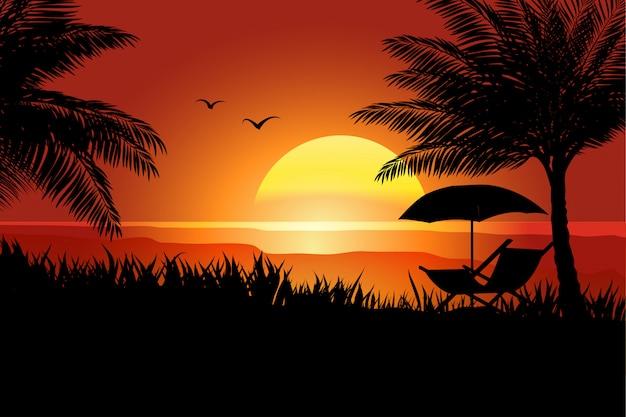 Verão no pôr do sol com palmeira