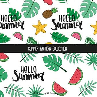Verão, padrões, frutas, palma, folhas