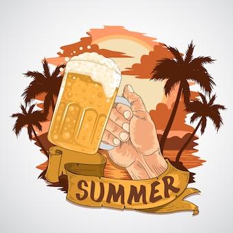 Verão, praia, cerveja, partido, mão, ceers, elemento, vetorial