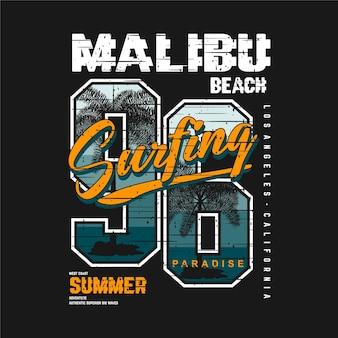 Verão praia de malibu, com palmeira
