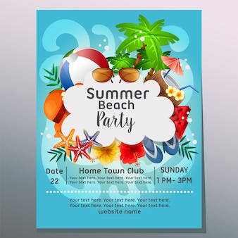 Verão praia festa mar onda férias cartaz modelo ilustração vetorial