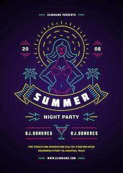Verão praia festa panfleto ou cartaz modelo néon sinalização luzes tipografia estilo design.