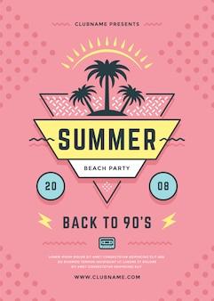 Verão praia festa panfleto ou cartaz modelo tipografia estilo.