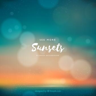 Verão, praia, fundo, pôr do sol, bokeh, efeito