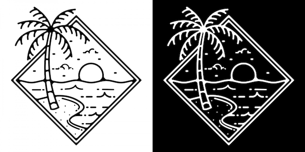 Verão praia monoline outdoor vintage design
