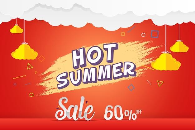 Verão quente 60% venda desconto modelo vector design